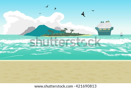 Sea landscape summer beach, cruise ship. Beach of the sea to the island and a cruise liner in the distance in summer vacation. Background on beach. Vector flat illustration - stock vector