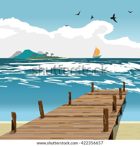 Sea landscape summer beach, old wooden pier, island and yacht in the distance. View with wooden pier in summer vacation. Summer background on beach. Vector flat illustration - stock vector