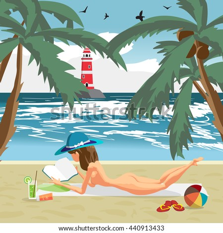 Sea landscape summer beach, palms and a private beach. Woman in a blue hat sunbathing naked. Vector cartoon flat illustration - stock vector