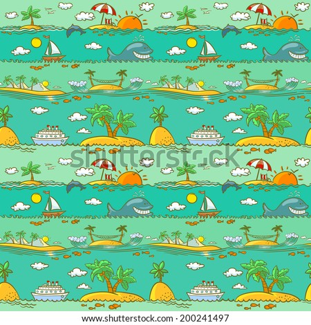 Sea landscape summer seamless pattern - stock vector
