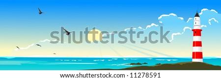 Sea landscape with a beacon - stock vector