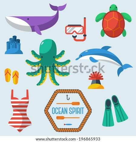 Sea objects collection. Vector illustration. Turtle, dolphin, octopus, sea anemone, whale, diver's equipment. - stock vector