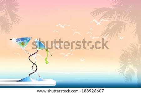 sea ocean seagulls palms holidays martini horizontal landscape vector version - stock vector