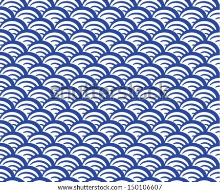 Sea / ocean wave, seamless pattern, abstract ornament, japan / china background. Vector illustration - stock vector
