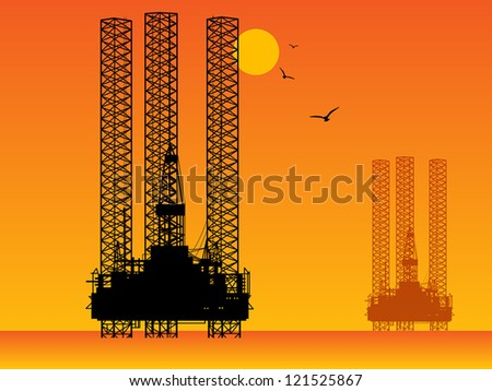 Sea Oil Rig Drilling Platforms, vector illustration - stock vector
