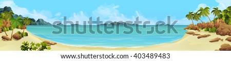 Sea panorama. Bay, tropical beach. Vector background - stock vector