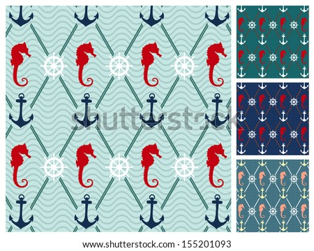 sea  pattern set - stock vector