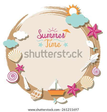 Sea Shell and Summer Objects Icons Wreath - stock vector