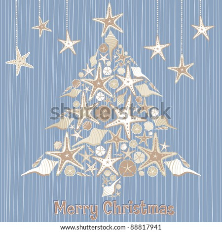 Sea Shell Christmas Tree for a Tropical or Southern Climate - stock vector