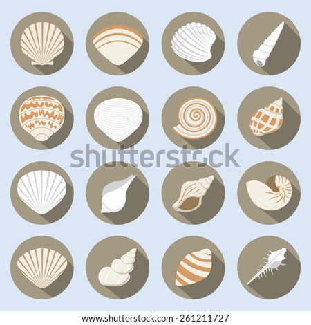 Sea Shell Flat Icons Set - stock vector