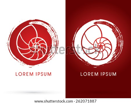 Sea shells ,Conch , designed using  line on white and red grunge cycle  background, sign, logo, symbol, icon, graphic, vector. - stock vector