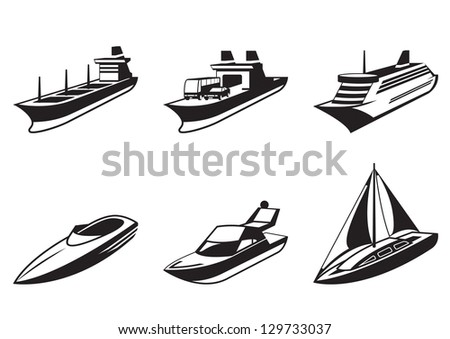 Sea ships and boats in perspective - vector illustration - stock vector