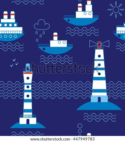 Sea, ships, lighthouses, seagulls, clouds, sun white, blue, red, black a seamless pattern on a dark blue background. - stock vector
