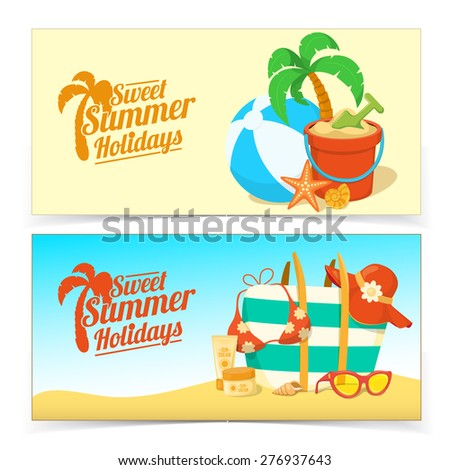 Sea shore and beach accessories. Summer tropic vacation banner design.  - stock vector