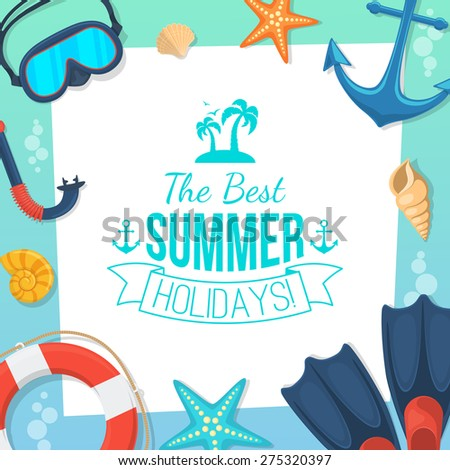 Sea shore and swimming accessories.  Summer tropic vacation background design.  - stock vector