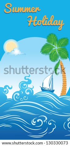 sea summer holiday travel template - stock vector