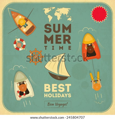 Sea Summer Retro Card. Top View. Vector Illustration. - stock vector