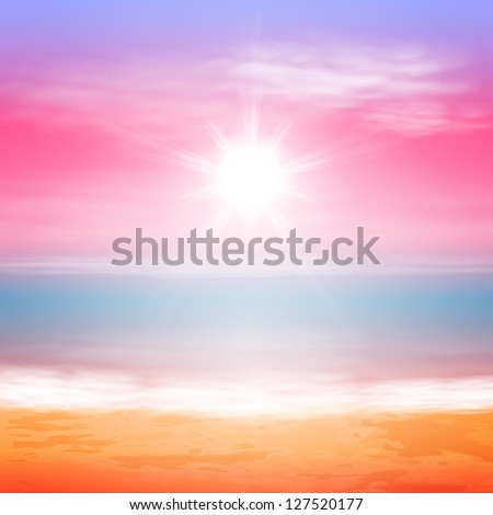 Sea sunset with bright sun. EPS10 vector. - stock vector