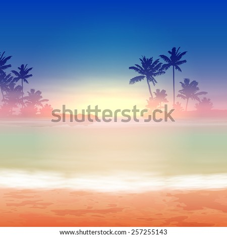 Sea sunset with palm trees. EPS10 vector. - stock vector