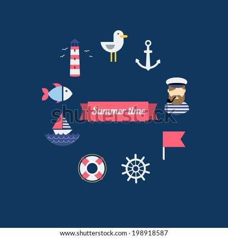 Sea theme illustration in modern flat design style. - stock vector