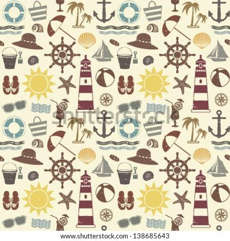 Sea themed seamless pattern - stock vector
