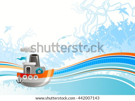 Sea travel abstract background pattern for with net, foam, and seagulls and steamboat icon. Copy space for your text. For tourism agency, yacht club and other summer vacation designs  - stock vector