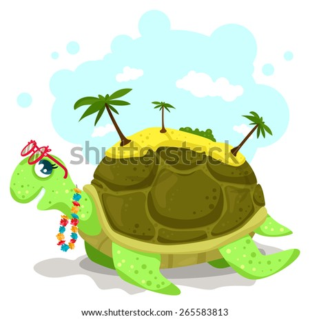 Sea turtle with an exotic island on it's back. Funny illustration for tropical travel. The turtle has a party sunglasses and the hawaii flowers necklace. - stock vector