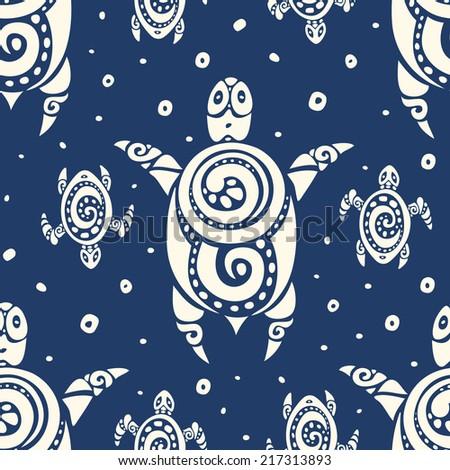 Sea Turtles. Polynesian tribal pattern. Seamless Vector background. - stock vector
