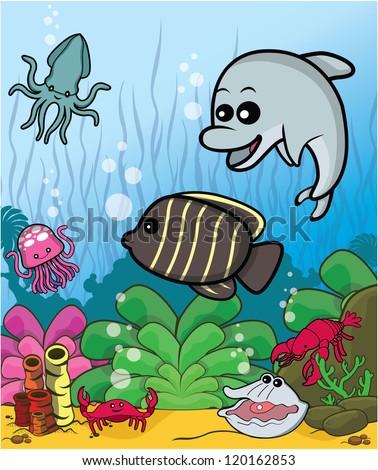 sea under water - stock vector