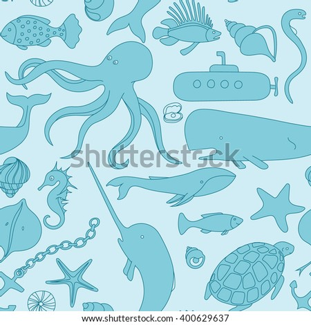 Sea under water fauna submarine fish hand drawn doodle vector seamless pattern - stock vector