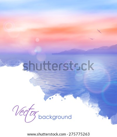 Sea vector watercolor background calm and clear. Marine landscape - stock vector