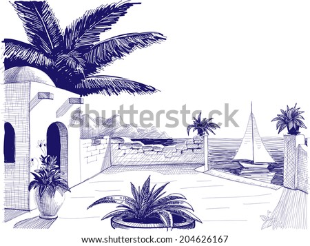 Sea view from house terrace on the beach sketch - stock vector