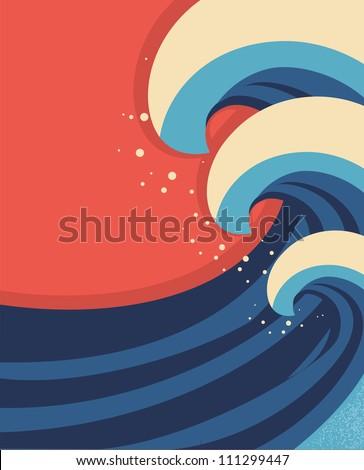 Sea waves poster.Vector illustration of sea landscape. - stock vector