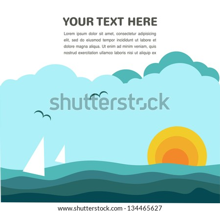 sea waves,sun and boat - stock vector