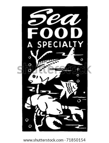 Seafood A Specialty - Retro Ad Art Banner - stock vector
