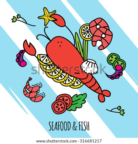 Seafood and fish concept illustration with lobster shrimps and salmon flat vector illustration  - stock vector