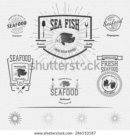 Seafood badges logos and labels for any use. on a white background - stock vector