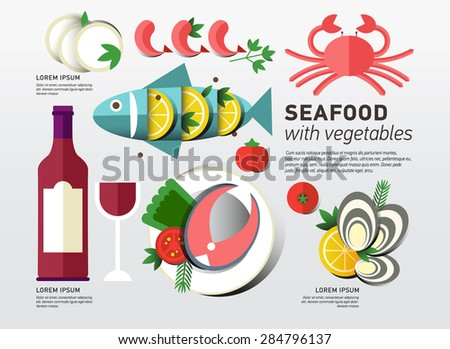 Seafood design set. Infographic food business seafood flat lay idea. Vector illustration hipster concept can be used for layout, advertising and web design. Seafood menu for restaurant.Infographics - stock vector