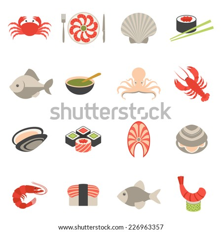 Seafood fish menu restaurant icons set flat with crab shrimps shell roll isolated vector illustration - stock vector