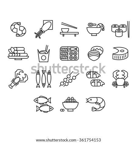 Seafood icon Vector Illustration Collection linear style - stock vector