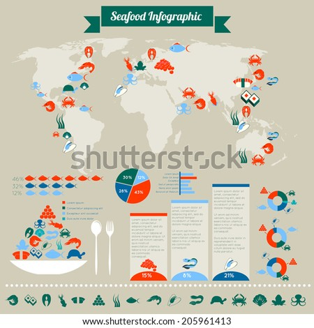 Seafood infographic chart of global sea fish crab shrimp seaweed cosumption and distribution layout design vector illustration - stock vector