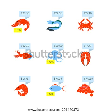 Seafood market online store discount fish lobster caviar price tags icons set flat abstract isolated vector illustration - stock vector