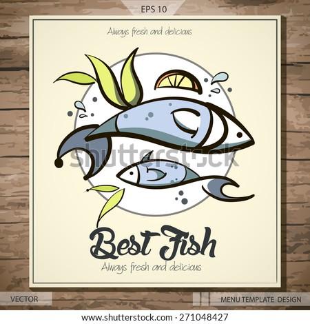 Seafood menu design best fish vector eps 10 stock vector for Fish 101 menu