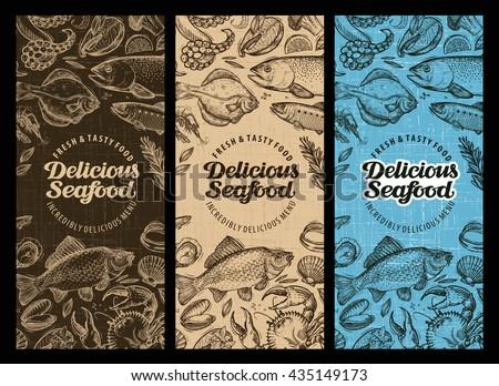 Seafood restaurant brochure, menu design. Hand-drawn food graphic - stock vector