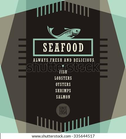 Seafood restaurant menu design template. Creative flyer layout concept. - stock vector