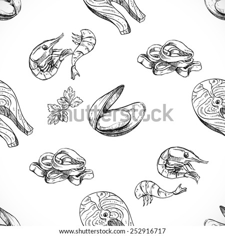 seafood seamless background doodle vector - stock vector