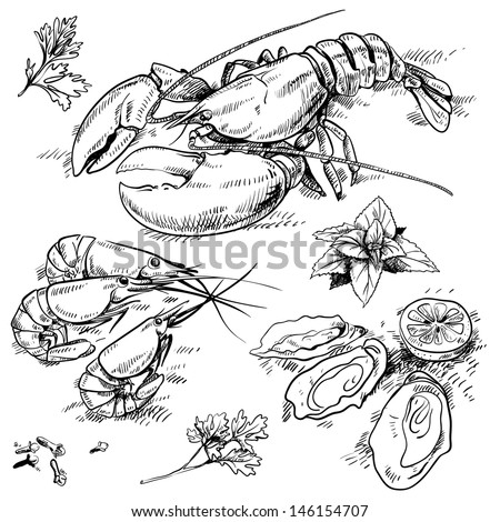 seafood set - stock vector