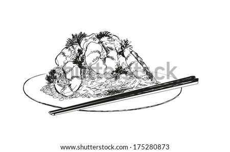 Seafood. Shrimps. Hand drawn illustration. - stock vector