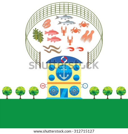 Seafood store shop with seafood items. Elements for design. Vector illustration. - stock vector