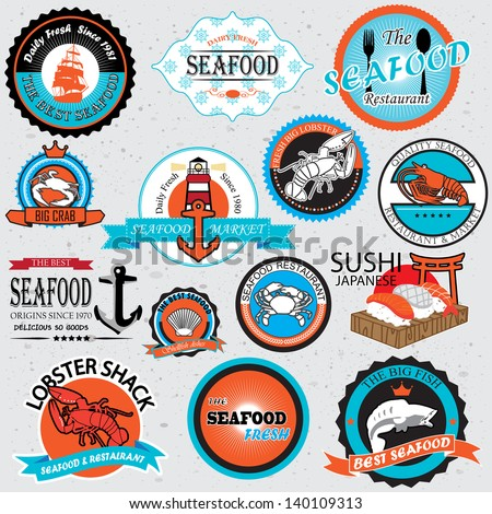 seafood symbols 01 - stock vector